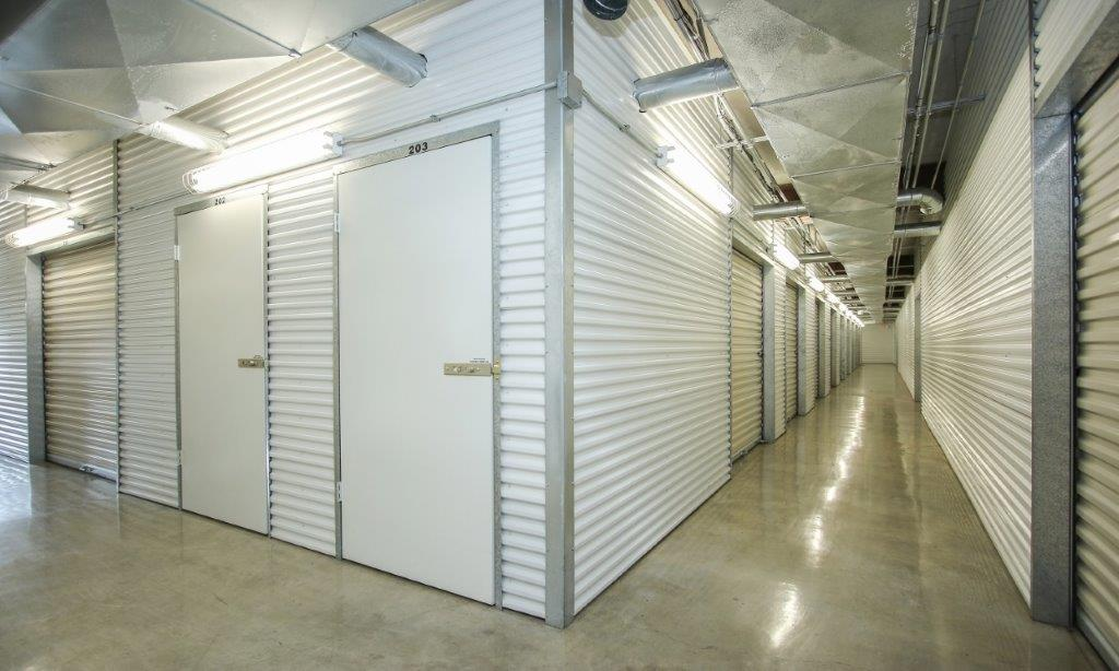 Hallway of interior storage units
