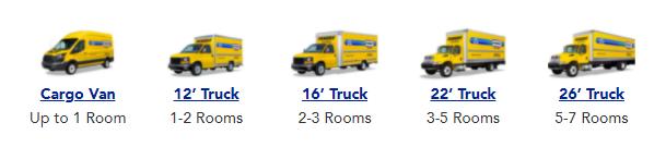 Penske Van and Truck Sizes