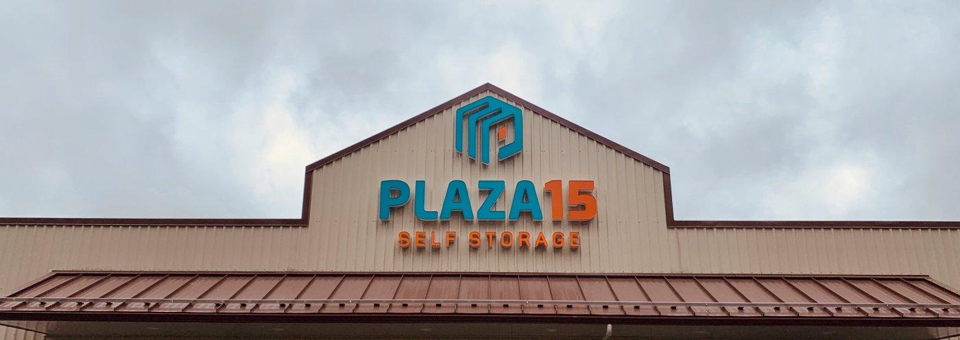 plaza 15 storage sign