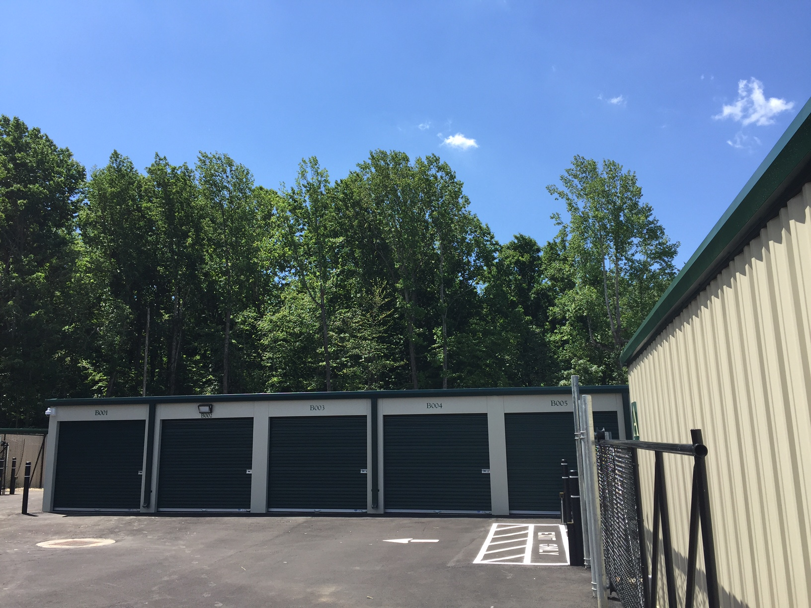 Exterior Storage Units with large doors and drive up access