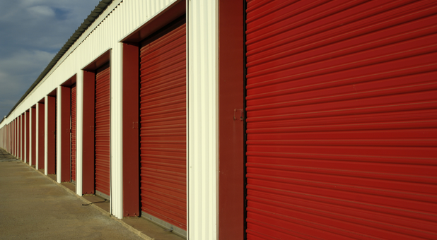 Row of red Union, MO storage units