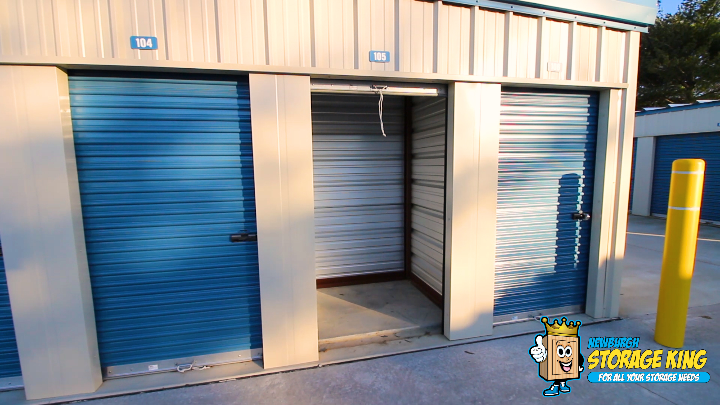 Small storage units with doors open