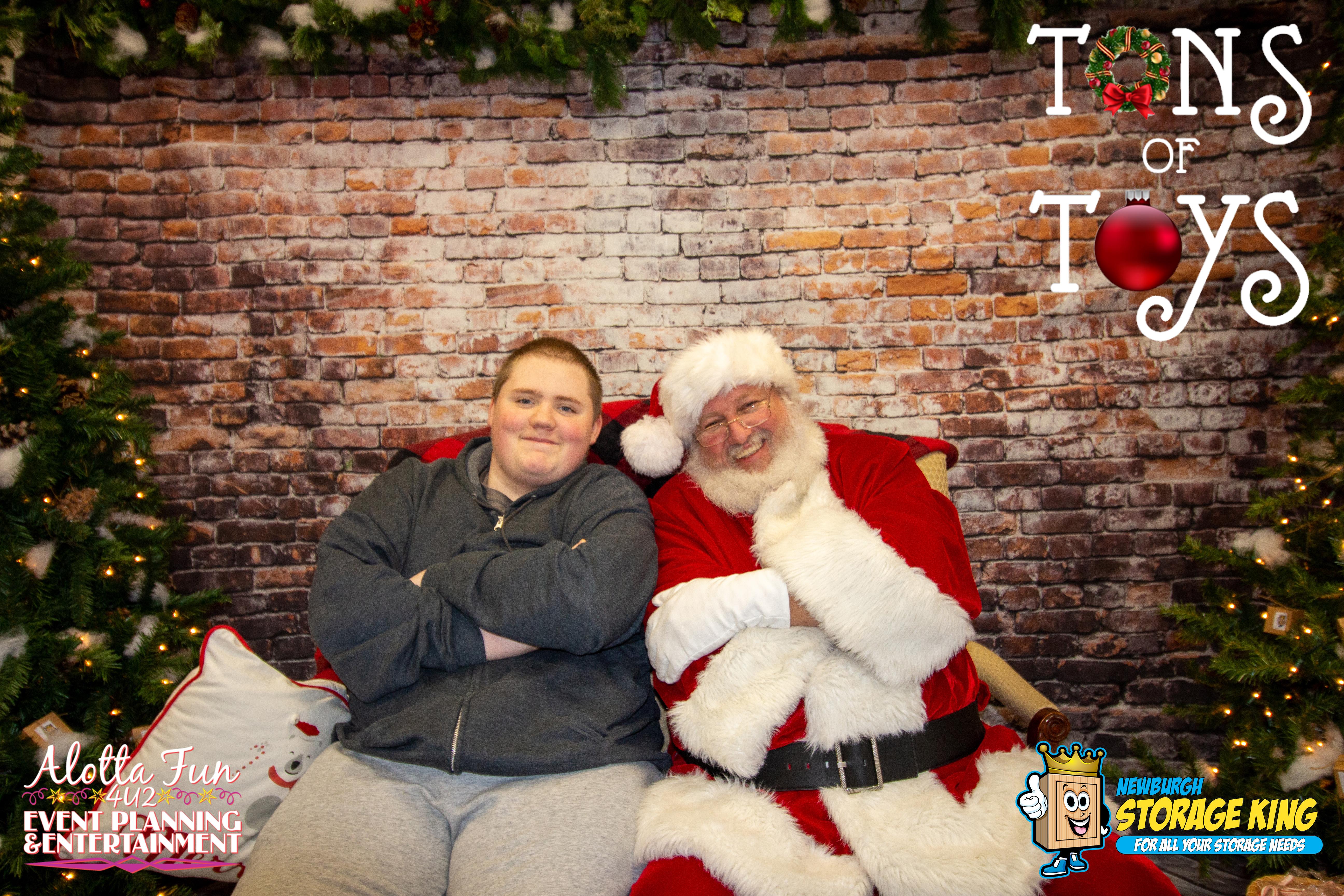 santa posing with a fan