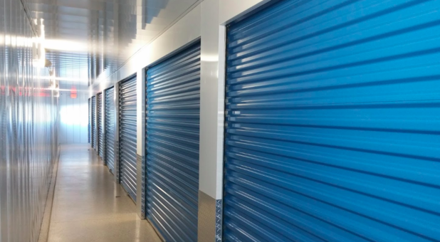 Row of self storage units at Lighthouse Self Storage