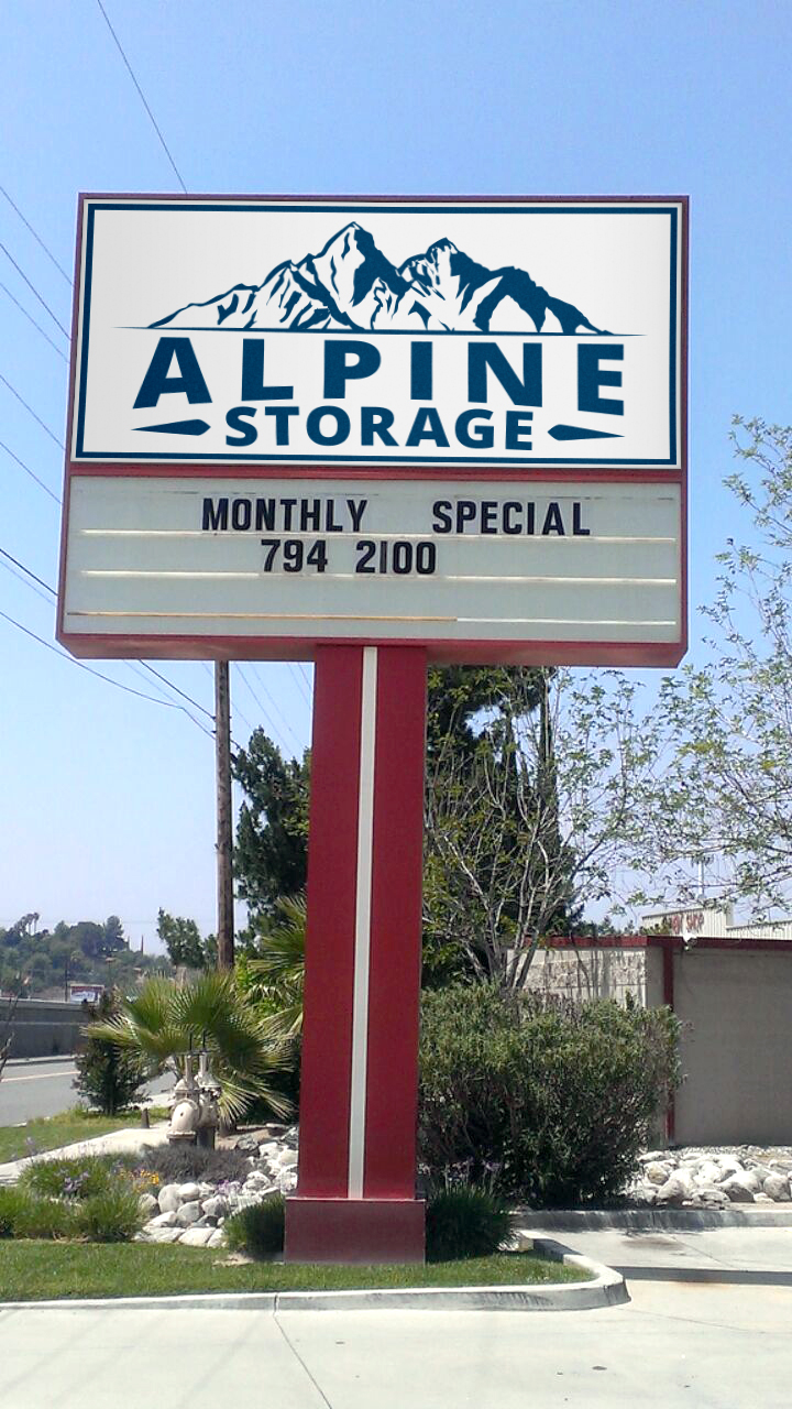 Alpine Storage Front sign