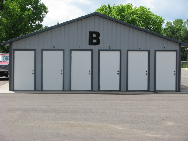Row of small storage units with exterior access