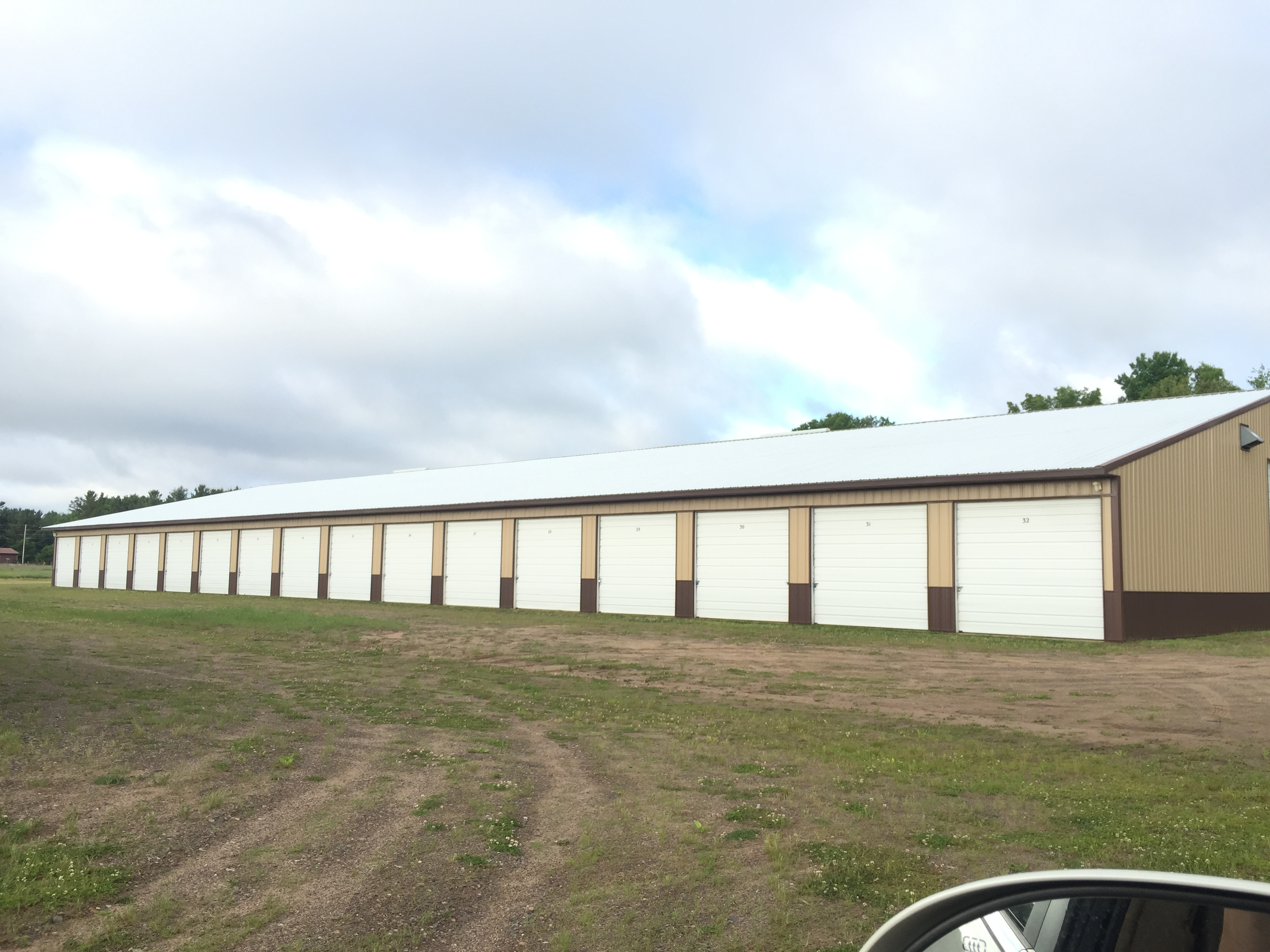 long storage building with drive up access units