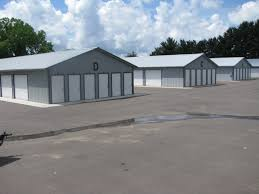 Storage buildings with exterior access doors