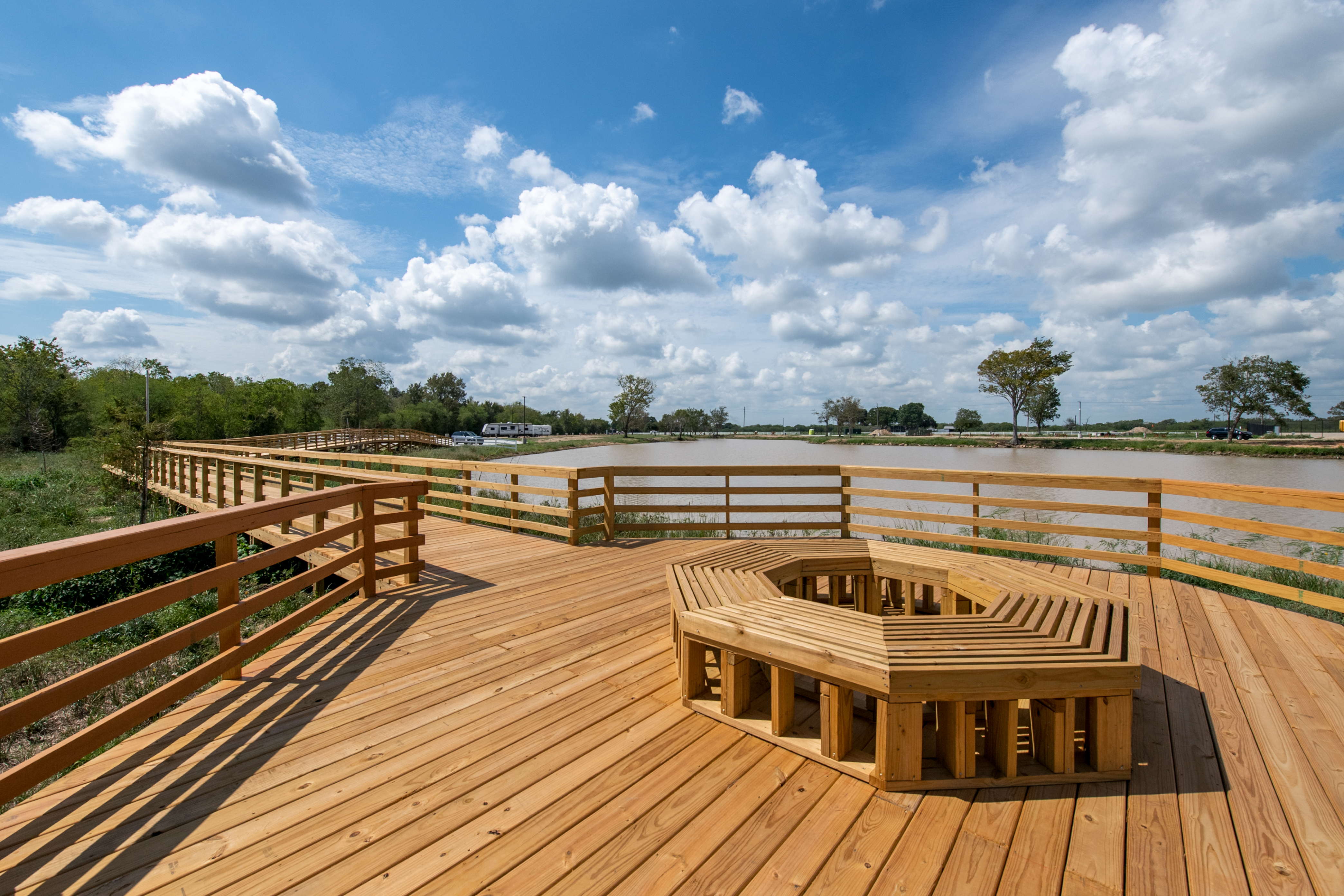 Pleasant Boardwalk with a fountain view