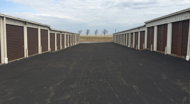 Buffalo South Storage units on both sides of the business driveway