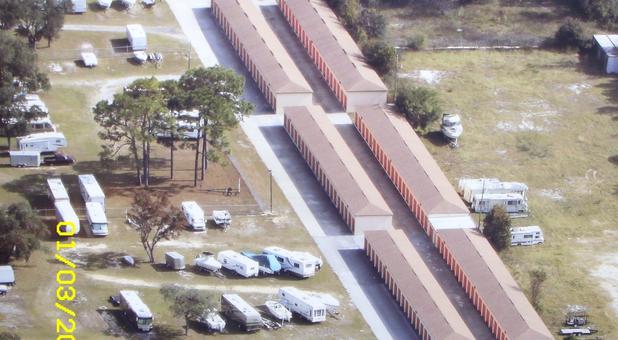 Skyview of storage units at EZ Mini Storage