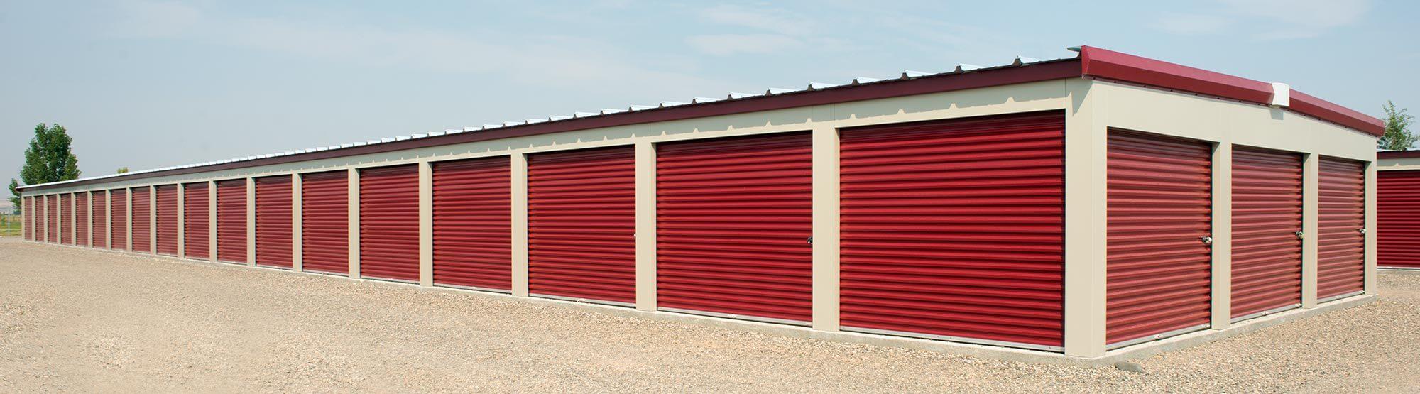 Row of red self storage units in Glendale, AZ