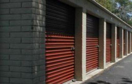Row of self storage units at A-Sav-On Self Storage
