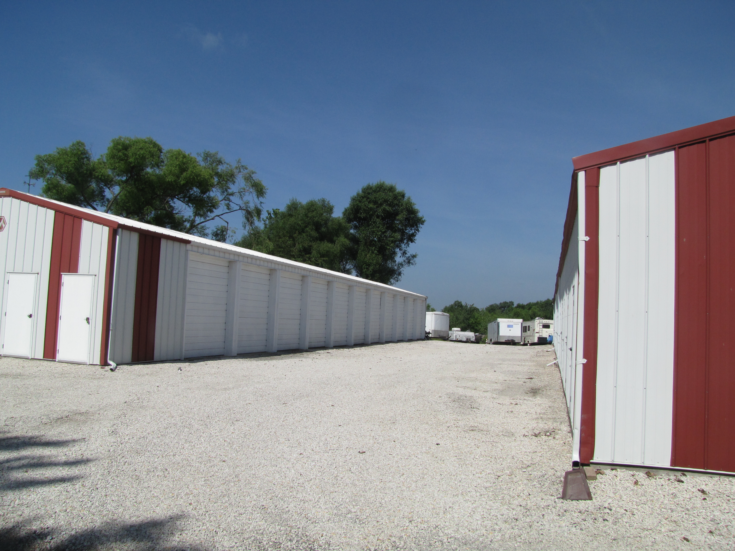 two buildings of drive up storage units