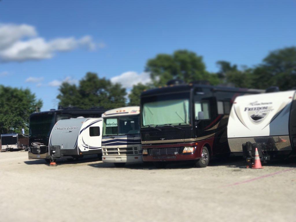 row of parked RVs