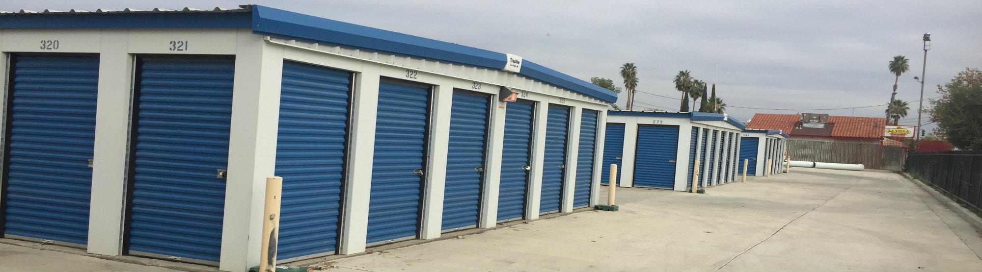Rows of self storage units in Bakersfield, CA