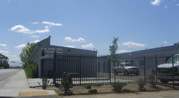 Security gate around self storage units in Bakersfield, CA