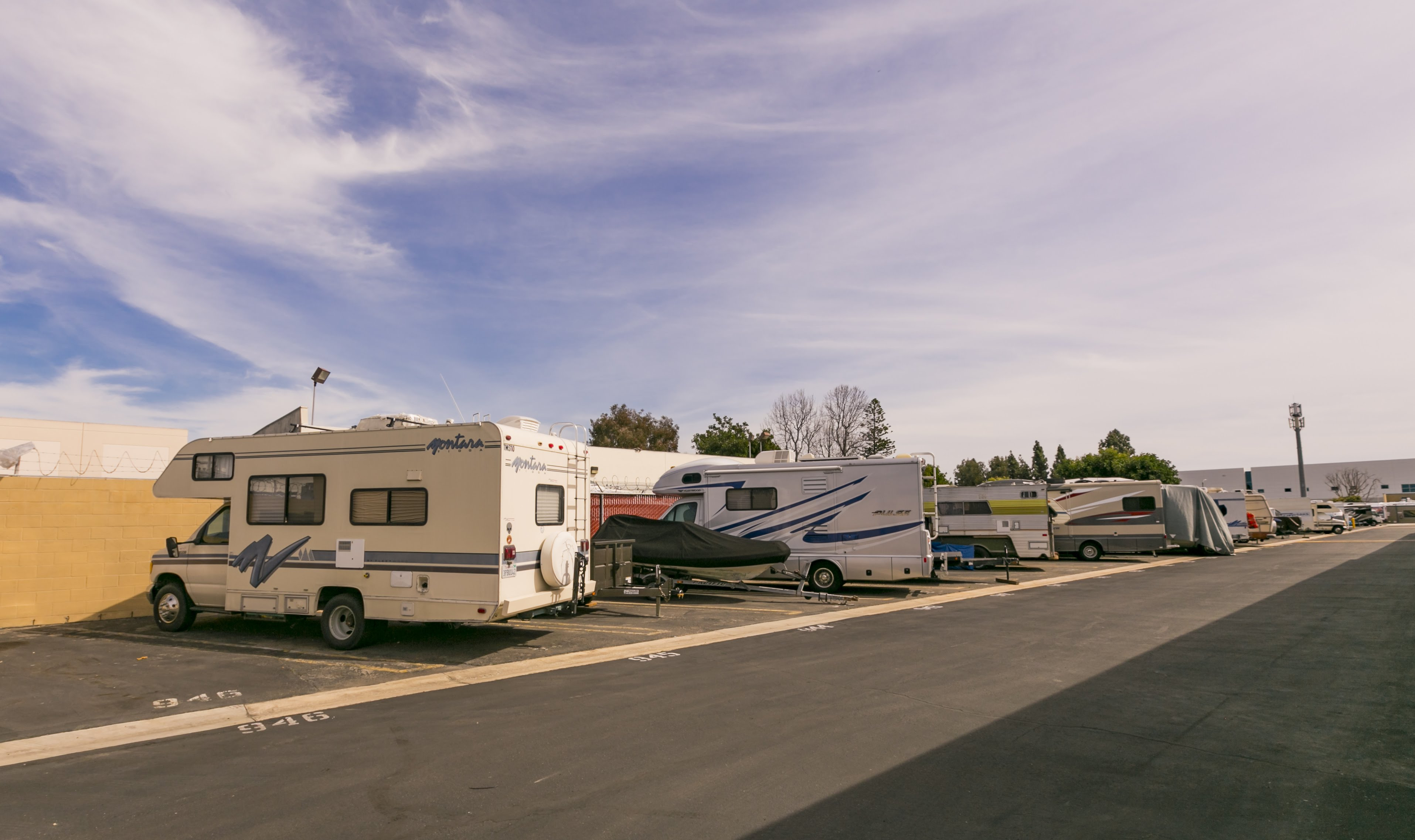RVs parked in storage