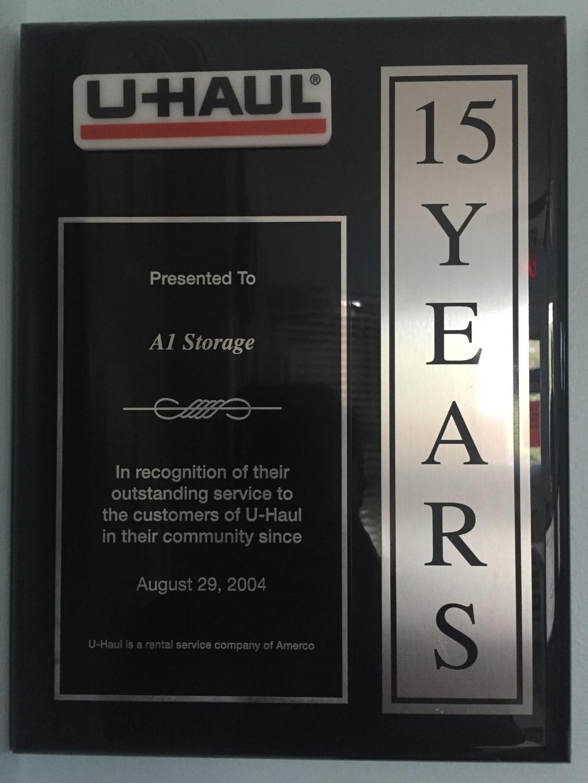 A-1 Storage Customer Service Award