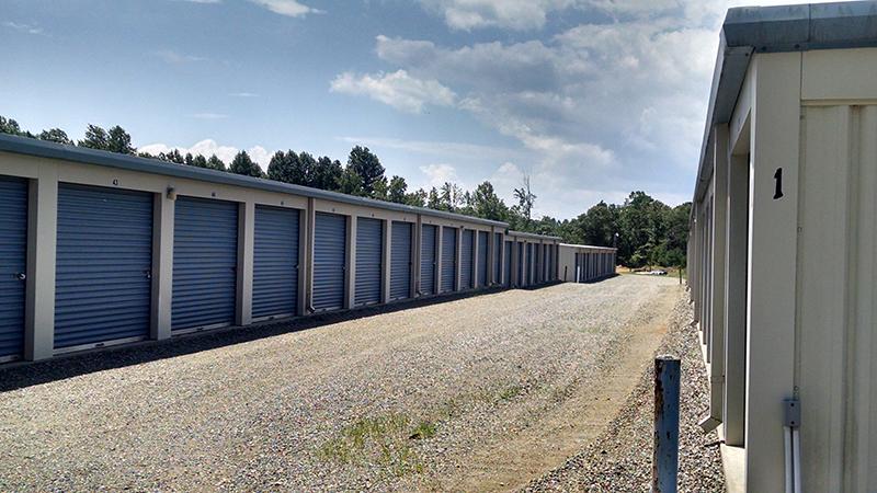 aisle between storage buildings