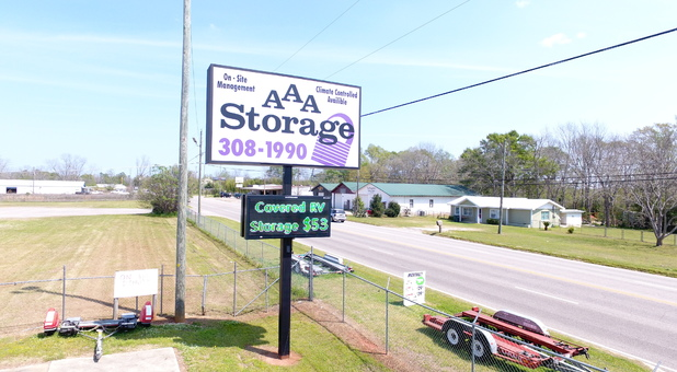 Street view of AAA Storage sign