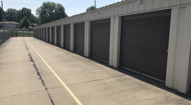 Exterior Storage Units with a driving lane in front