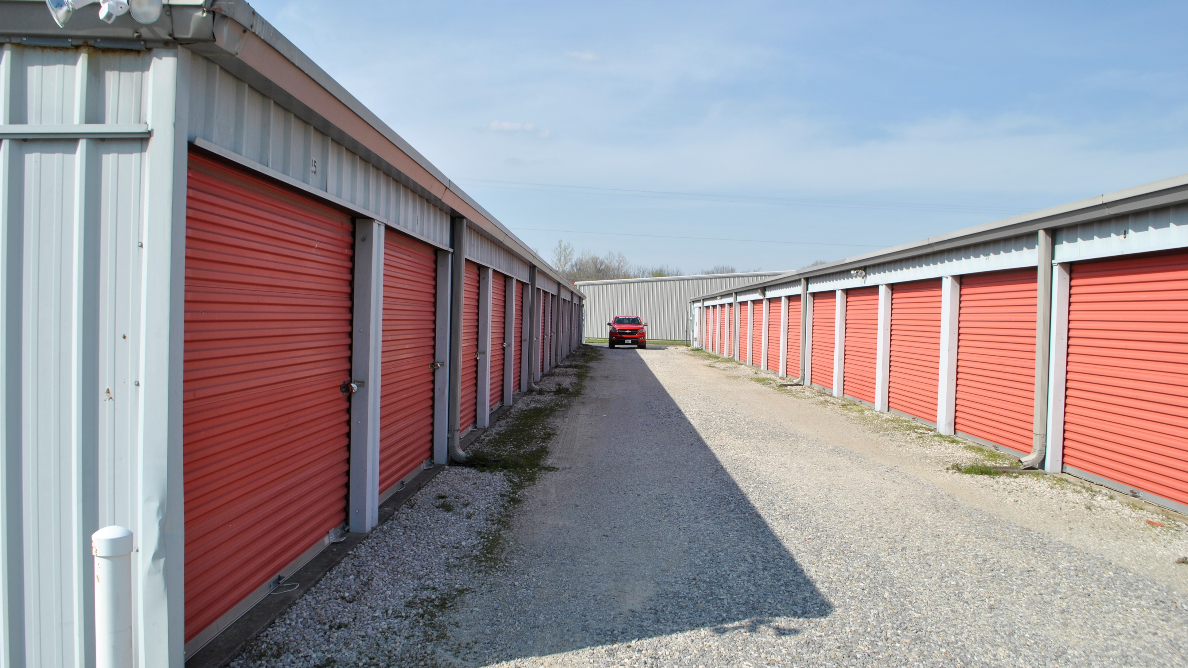 two buildings of drive up access storage units