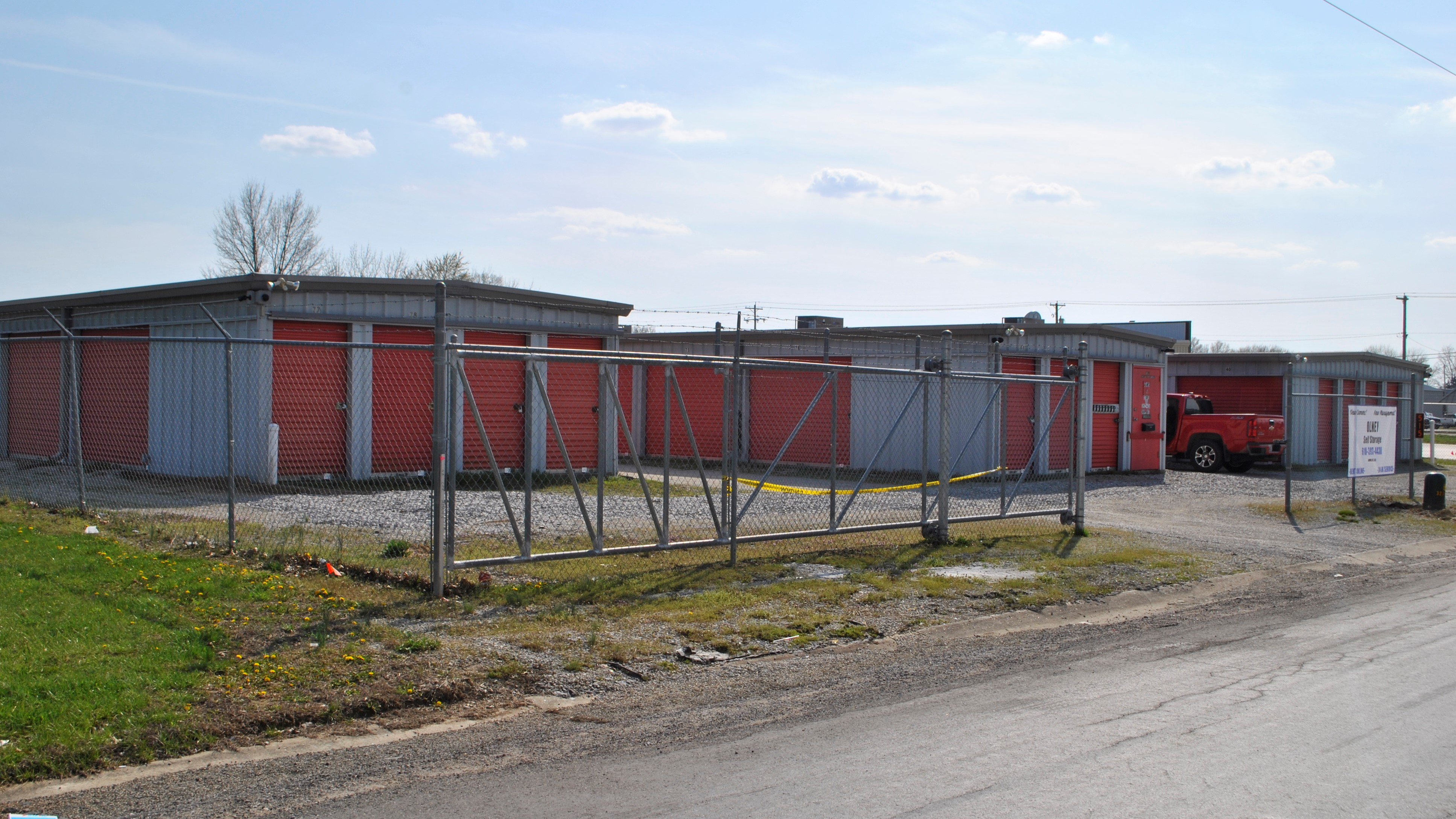 self storage facility with open front gate