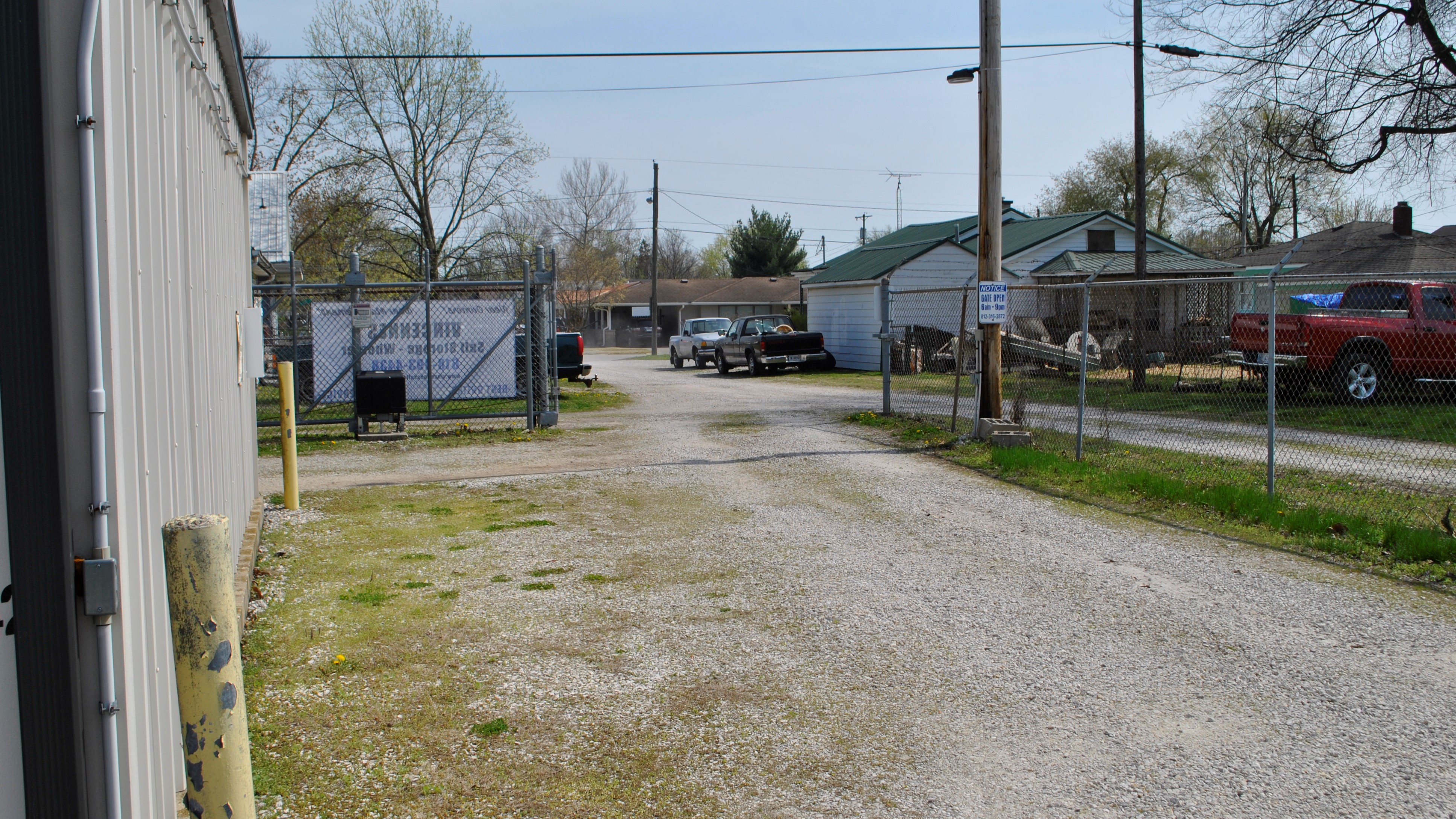 entrance to storage facility with front gate open