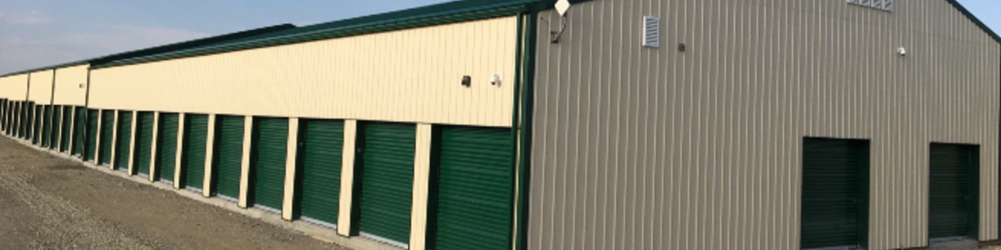 Row of storage units in Aldersyde, AB