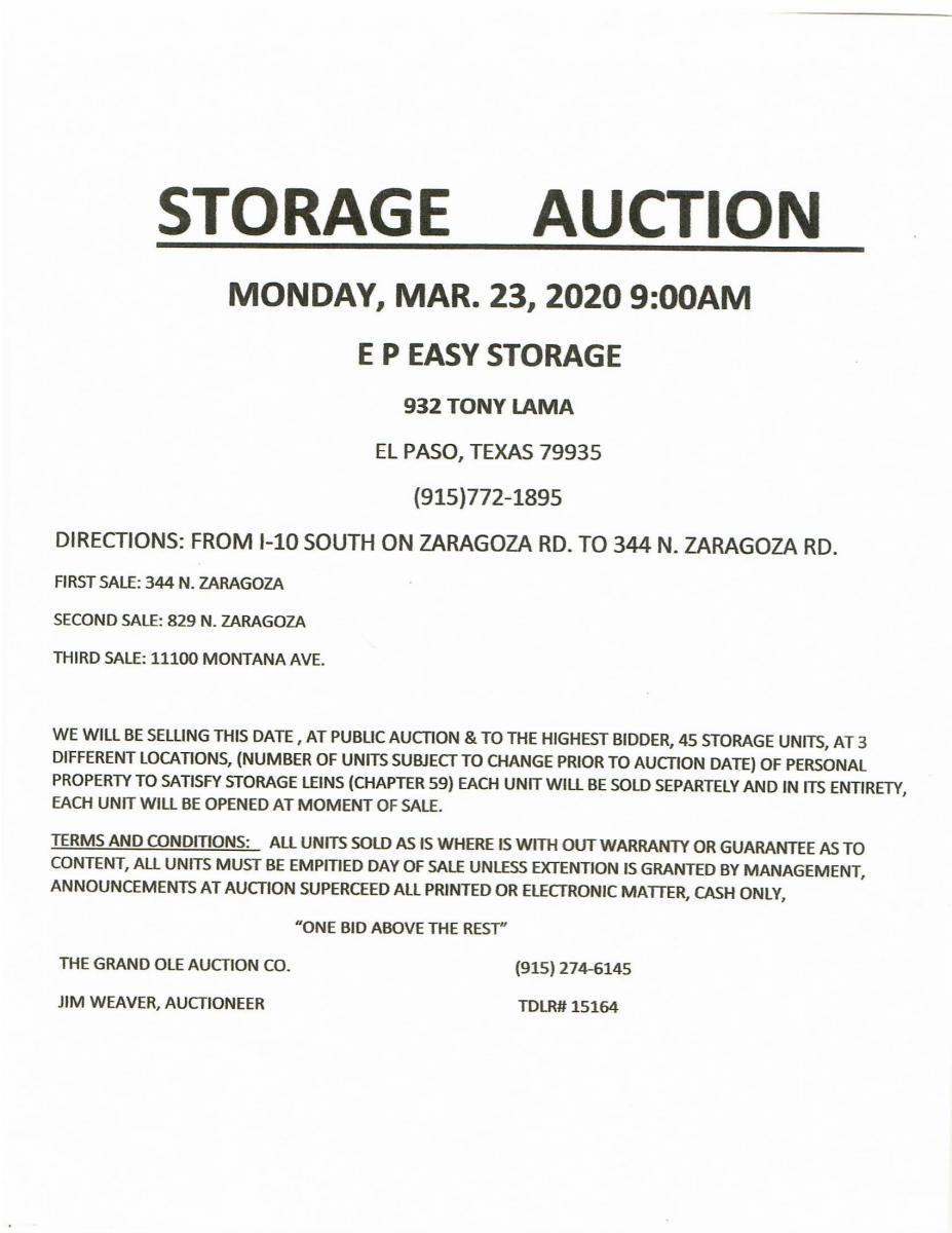 El Paso Storage Auction Flyer
