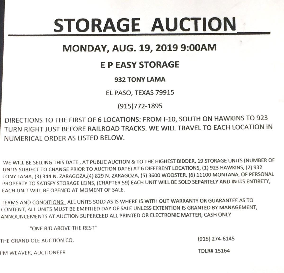 Storage auction information