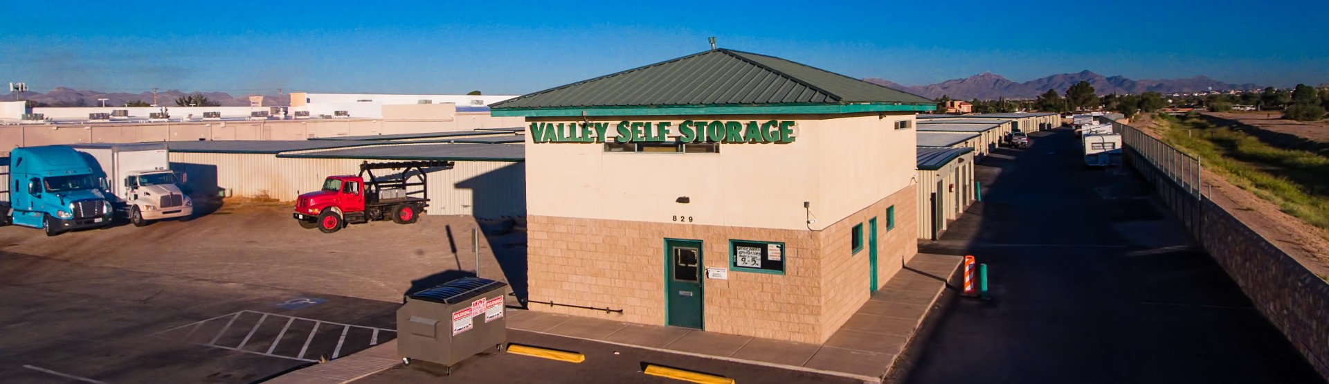 Overhead view of the Valley Self Storage facility
