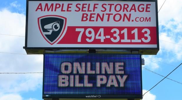 Ample Self Storage - Benton roadside sign