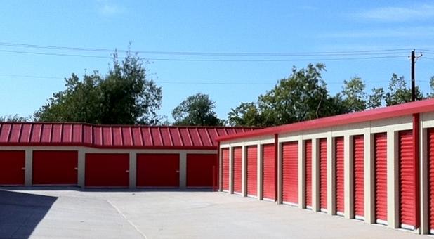 Red storage units at Bella Storage