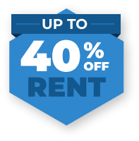 Up to 40% off rent.