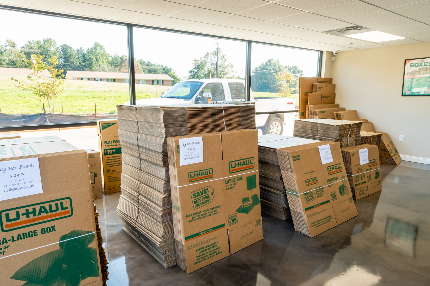 Moving boxes available for purchase at Sure-Safe Moving and Storage