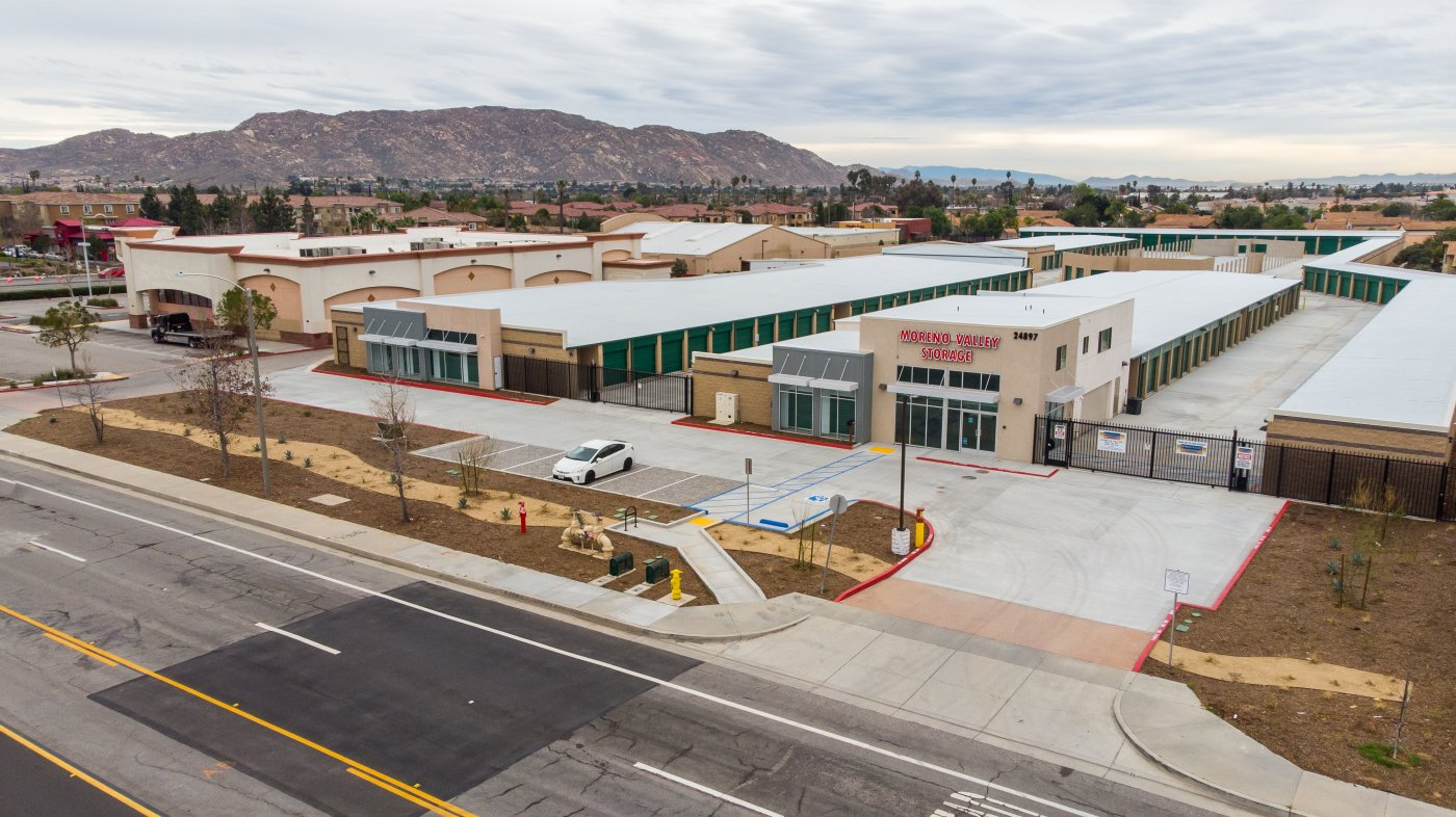 overhead view of self storage facility, fenced and gated