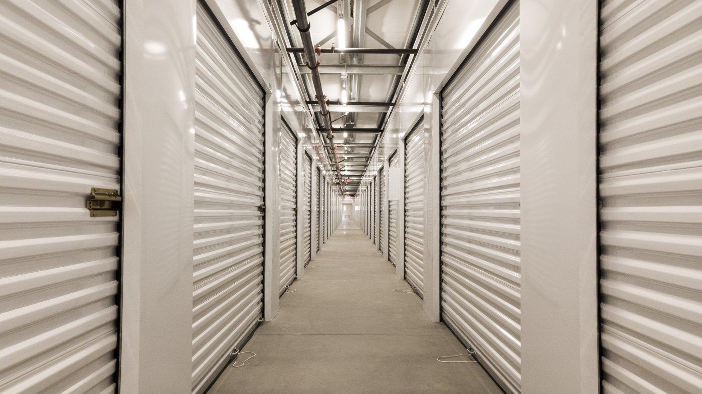 hallway of interior storage units