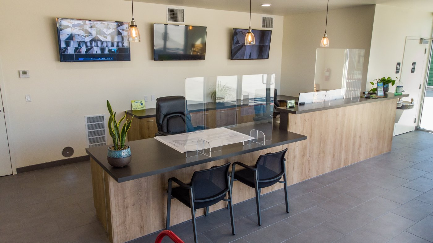front desk with plexiglass dividers