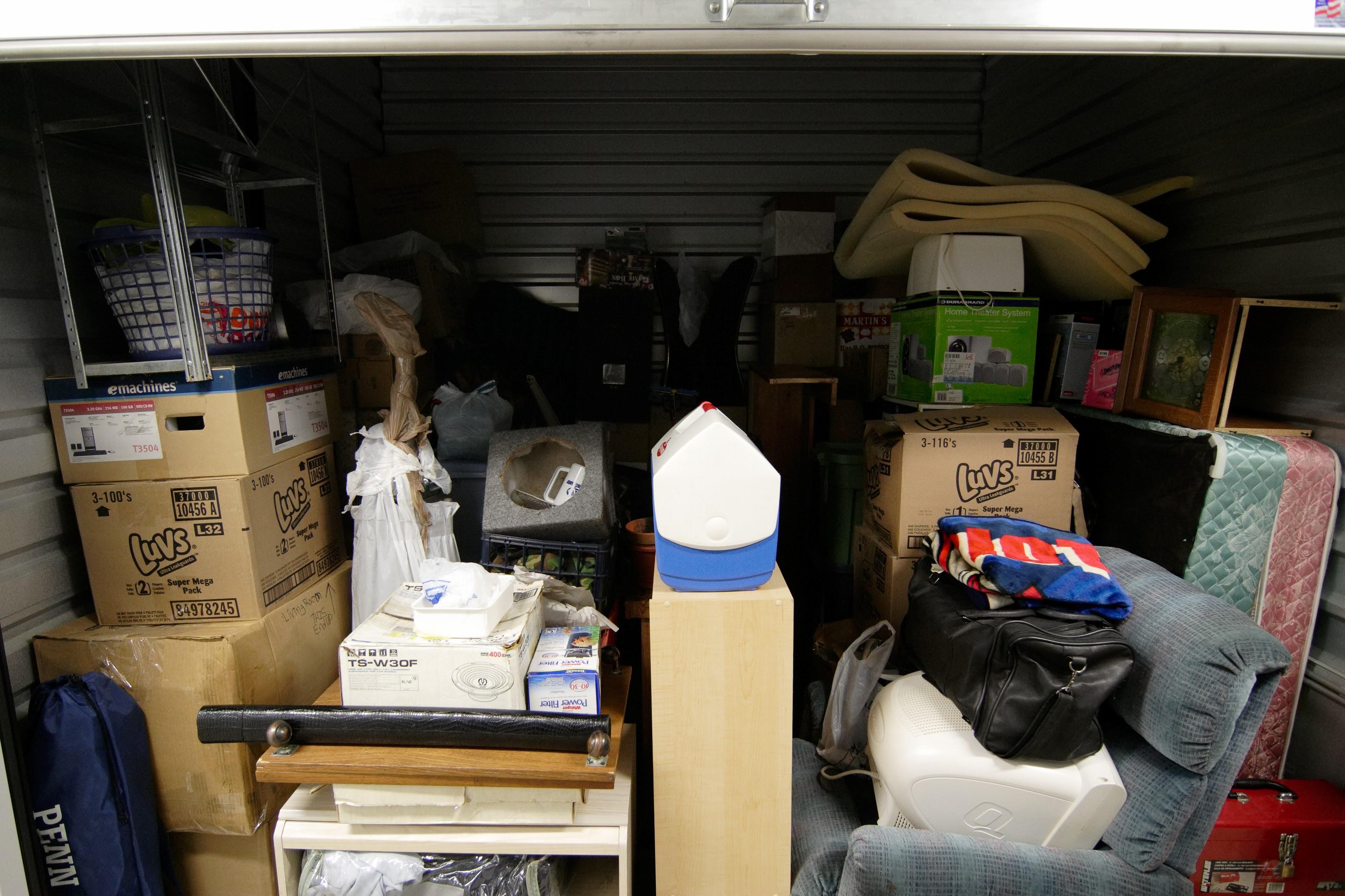 open storage unit, full