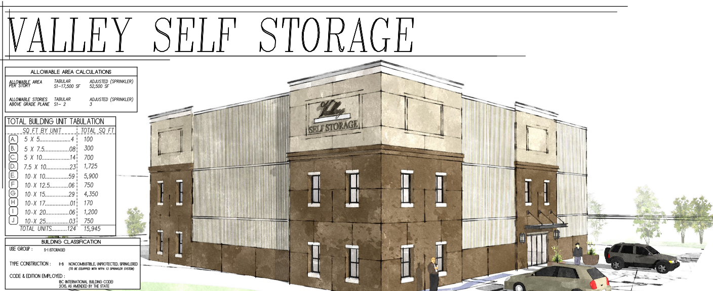 Architectural Drawing of valley self storage