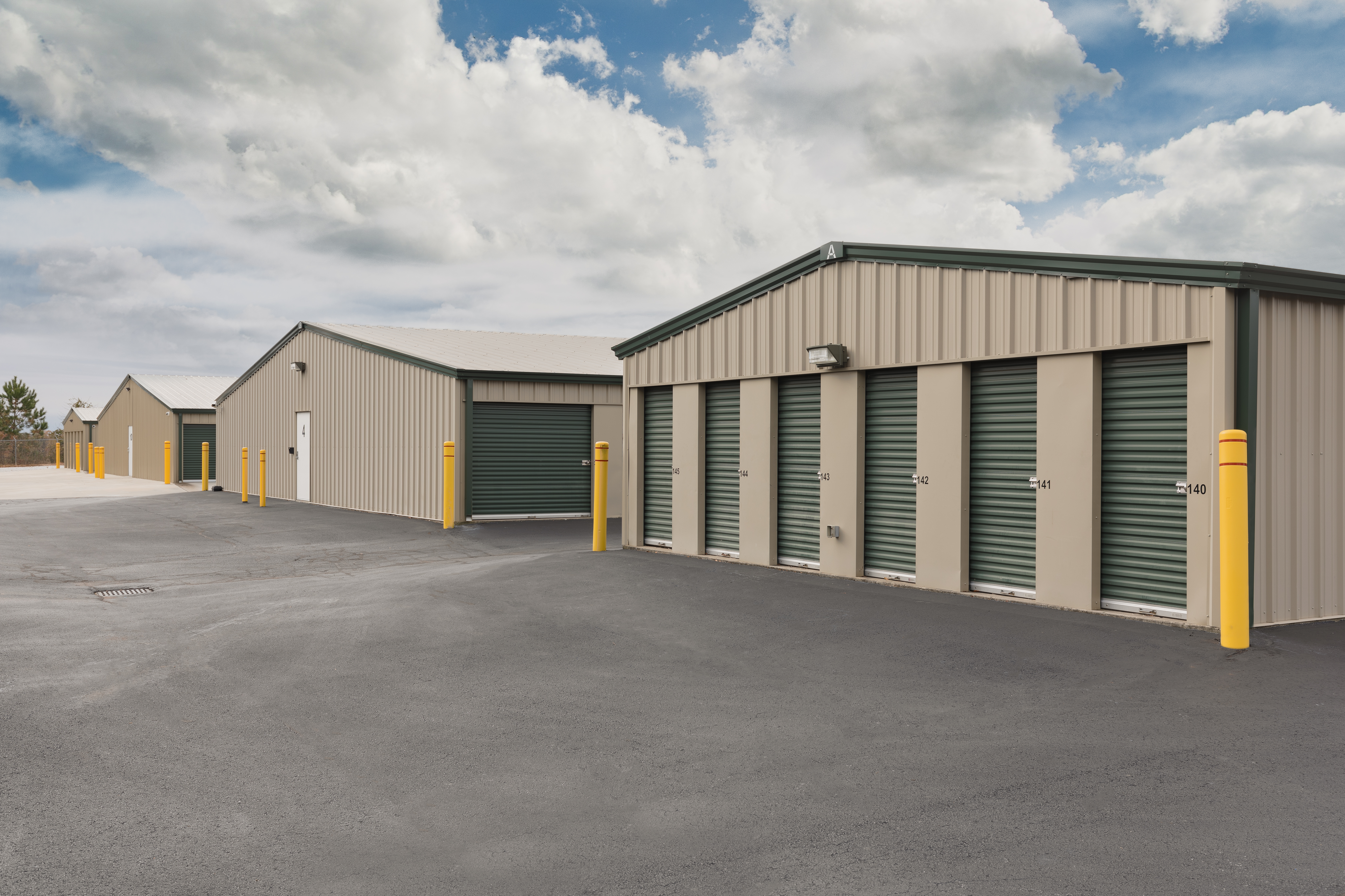 Two storage buildings with large exterior access doors