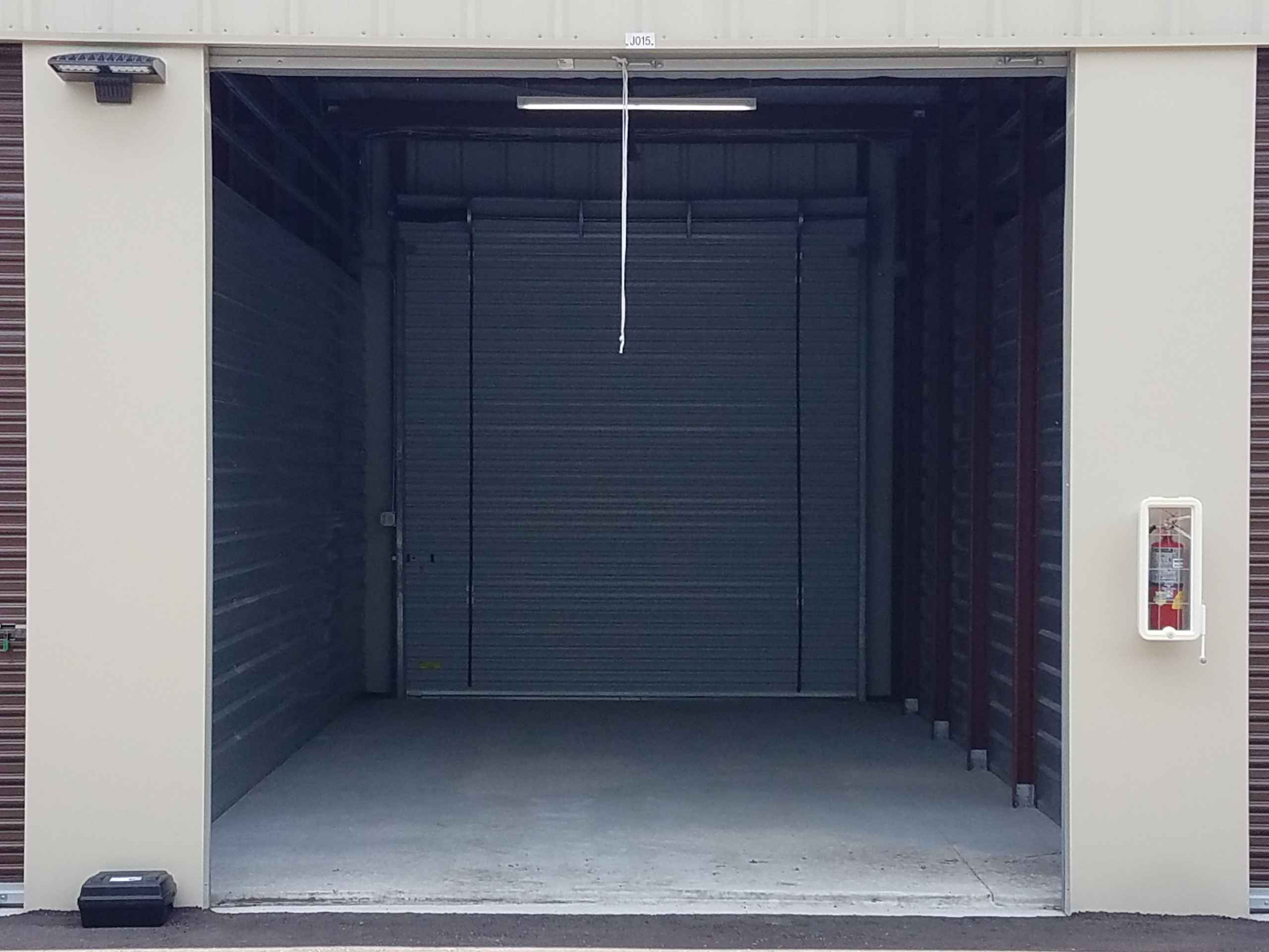 Self Storage unit with double door access front door open back door closed