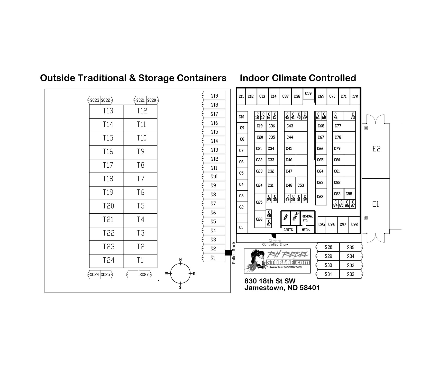 Indoor Climate Controlled Storage Map