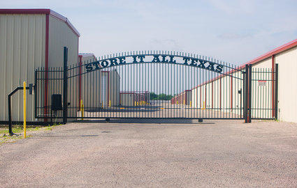 Gate entrance at Store It All Texas