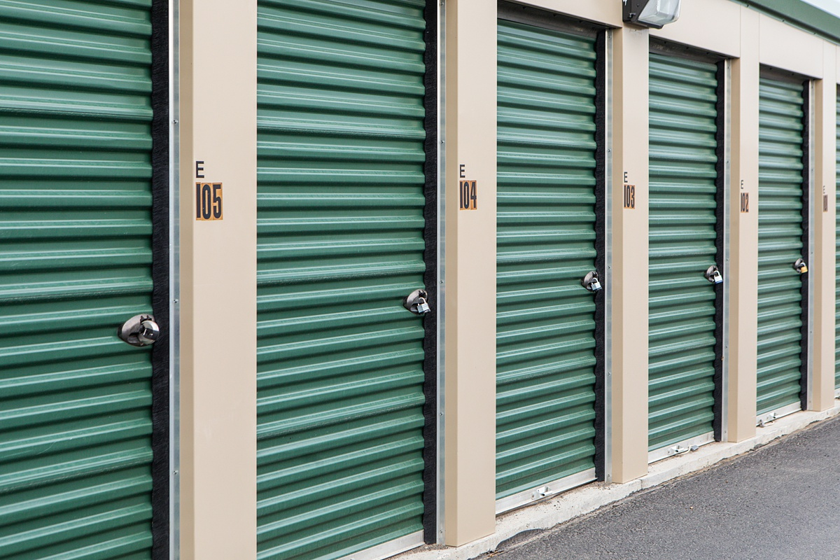 Multiple small storage units with outside access doors