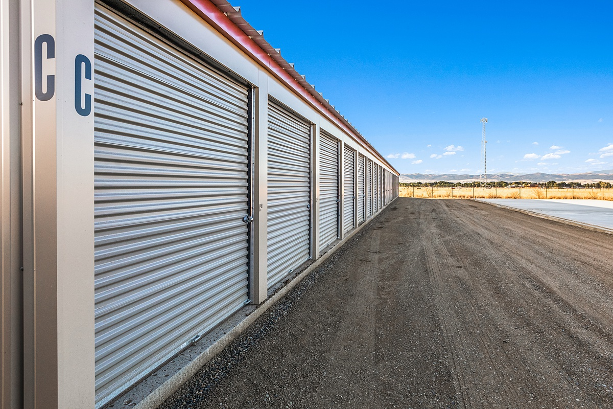 Outdoor storage units with large doors