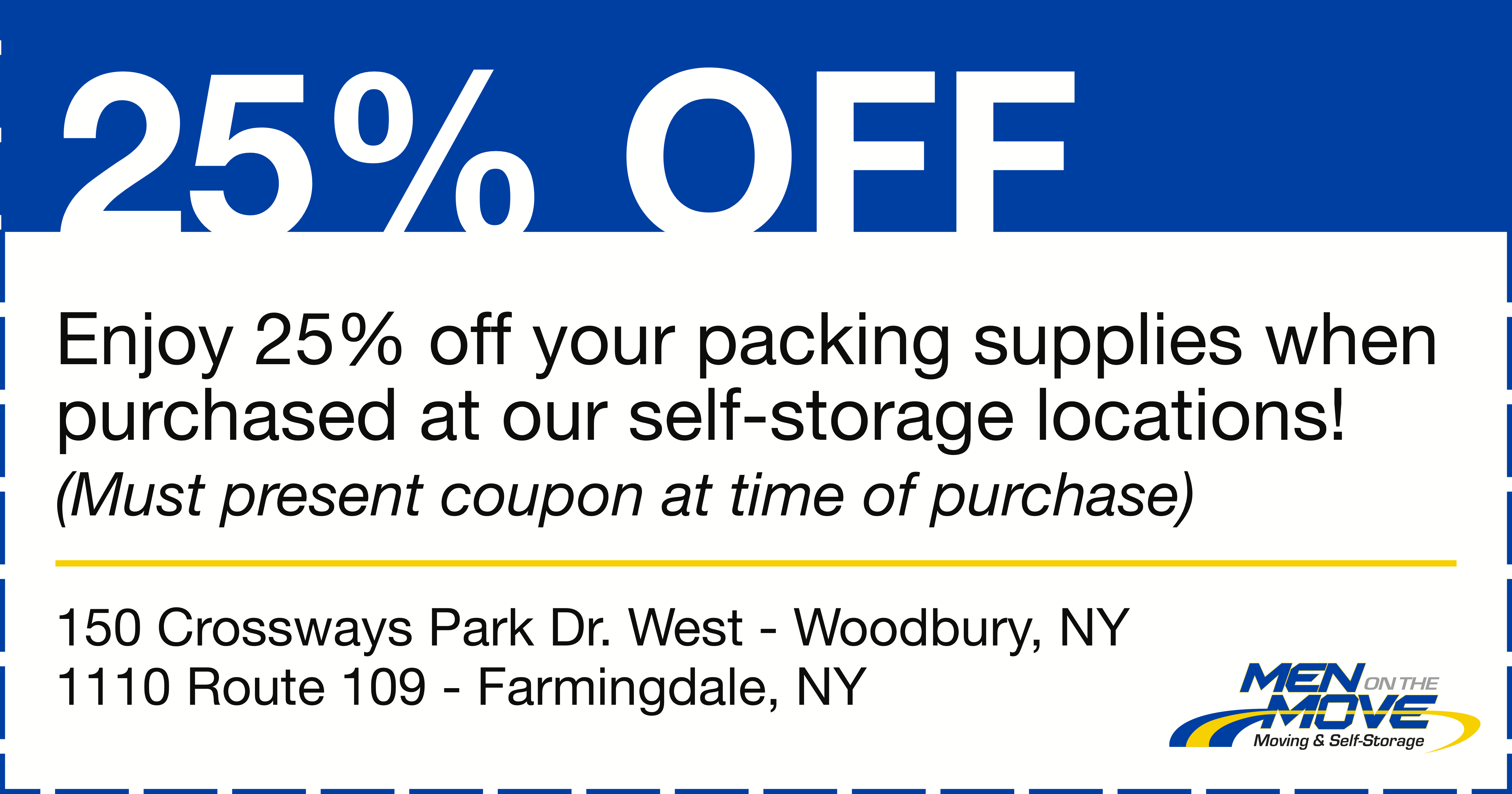 Long Island Moving and Self-Storage Coupon