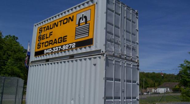 Staunton Self Storage logo on storage container.